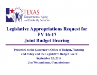 Department of Aging and Disability Services – JBH – 9/22/14